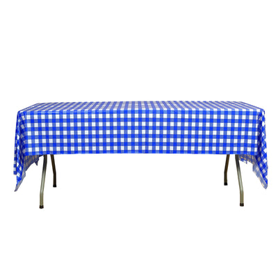 "Buffalo Plaid Tablecloth | 54"" x 108"" White/Royal Rectangular 