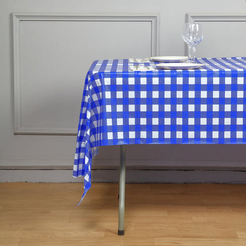 "Gorgeous Checkered 54x108"" Disposable Plastic Table Cover - White / Royal Blue"