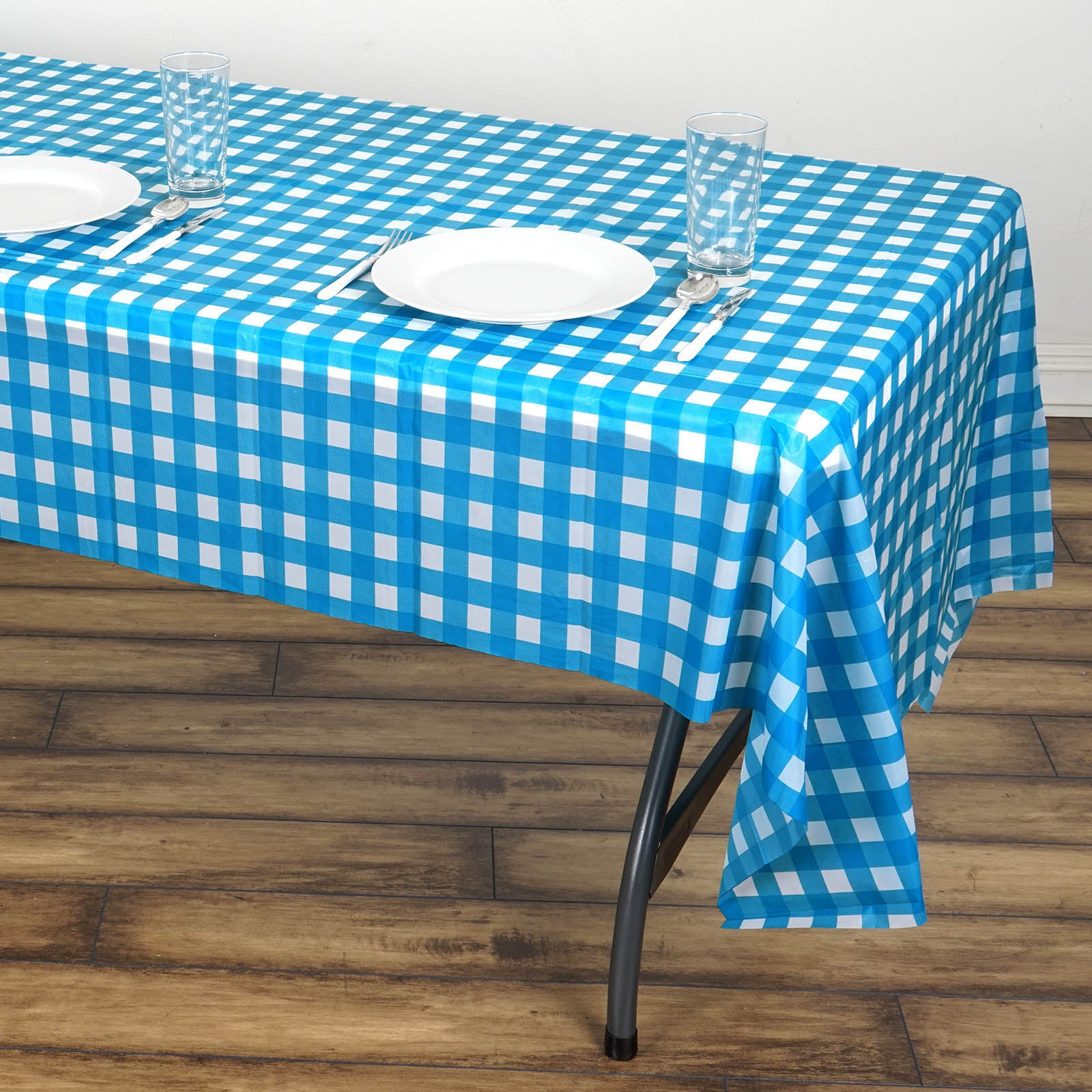 Disposable Checkered Plastic Vinyl Tablecloth - White/SerenityBlue ...