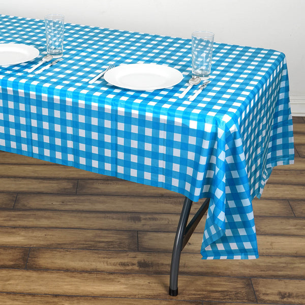 "Buffalo Plaid Tablecloth | 54"" x 108"" White/Serenity Blue Rectangular Spill Proof Tablecloths 