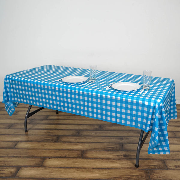 Disposable Checkered Plastic Vinyl Tablecloth White