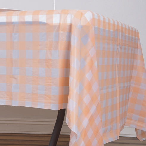 "54"" x 108"" Disposable Checkered Plastic Vinyl Tablecloth - Blush/White"