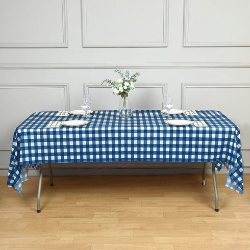 "Buffalo Plaid Tablecloth | 54"" x 108"" White/Navy Rectangular Spill Proof Tablecloths 