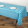 "Buffalo Plaid Tablecloth | 54"" x 108"" White/Turquoise Rectangular Spill Proof Tablecloths 