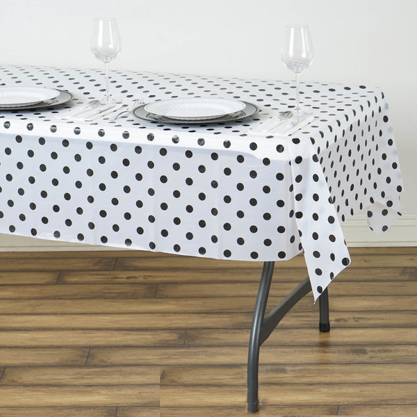 "54"" x 72"" 10 Mil Thick Perky Polka Dots Waterproof Tablecloth PVC Rectangle Disposable Tablecloth - White/Black"
