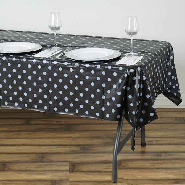 "54"" x 108"" 10 Mil Thick Perky Polka Dots Waterproof Tablecloth PVC Rectangle Disposable Tablecloth - Black/White"