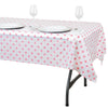 "54"" x 72"" 10 Mil Thick Perky Polka Dots Waterproof Tablecloth PVC Rectangle Disposable Tablecloth - White/Pink"