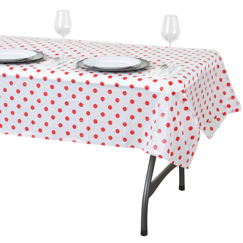 "54"" x 72"" 10 Mil Thick Perky Polka Dots Waterproof Tablecloth PVC Rectangle Disposable Tablecloth - White/Red"