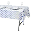"54"" x 72"" 10 Mil Thick Perky Polka Dots Waterproof Tablecloth PVC Rectangle Disposable Tablecloth - White/Royal Blue"
