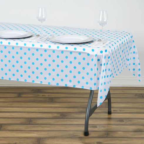 "54"" x 72"" 10 Mil Thick Perky Polka Dots Waterproof Tablecloth PVC Rectangle Disposable Tablecloth - White/Serenity Blue"