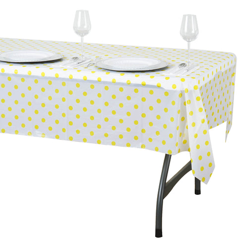 "54"" x 72"" 10 Mil Thick Perky Polka Dots Waterproof Tablecloth PVC Rectangle Disposable Tablecloth - White/Yellow"
