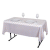 "54"" x 72"" 10 Mil Thick Perky Polka Dots Waterproof Tablecloth PVC Rectangle Disposable Tablecloth - White/Blush"