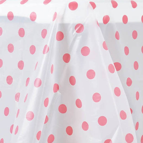 "54"" x 108"" 10 Mil Thick Perky Polka Dots Waterproof Tablecloth PVC Rectangle Disposable Tablecloth - White/Pink"