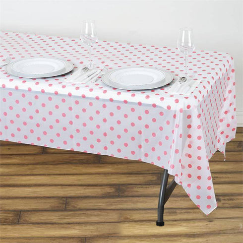 "Perky Polka Dots 54x108"" Disposable Plastic Table Cover - White / Pink"