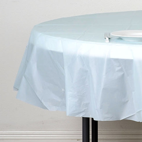 "84"" Blue Crushed Design Plastic Round Tablecloth"