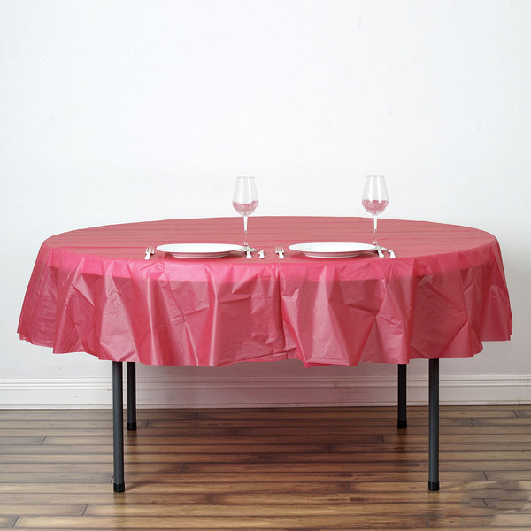 "84"" Burgundy 10 Mil Thick Crushed Design Waterproof Tablecloth PVC Round Disposable Tablecloth"