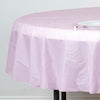 "84"" Pink 10 Mil Thick Crushed Design Waterproof Tablecloth PVC Round Disposable Tablecloth"