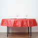 "84"" Red 10 Mil Thick Crushed Design Waterproof Tablecloth PVC Round Disposable Tablecloth"