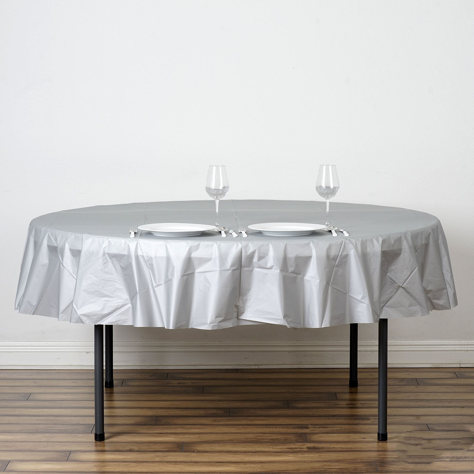 Jurmaine Health & 12-Pack Premium Plastic Tablecloth 84in White Round Table ...