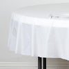 "84"" White Crushed Design Plastic Round Tablecloth"