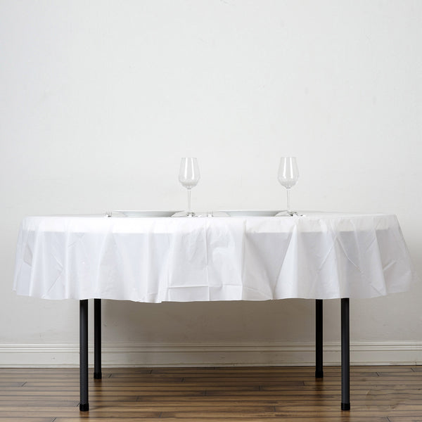 "84"" White 10 Mil Thick Crushed Design Waterproof Tablecloth PVC Round Disposable Tablecloth"