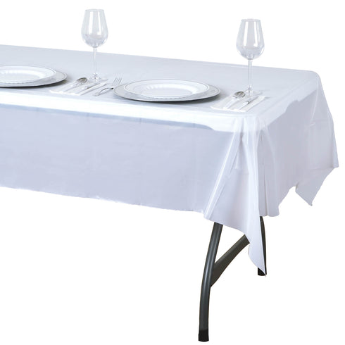 "54"" x 72"" White 10mil Thick Disposable Waterproof Vinyl Rectangular Tablecloth"