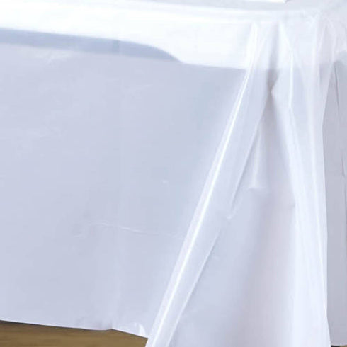 "Spotless Elegance 54x72"" Disposable Plastic Table Cover - White"