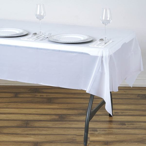 "54"" x 72"" White 10 Mil Thick Waterproof Tablecloth PVC Rectangle Disposable Tablecloth"