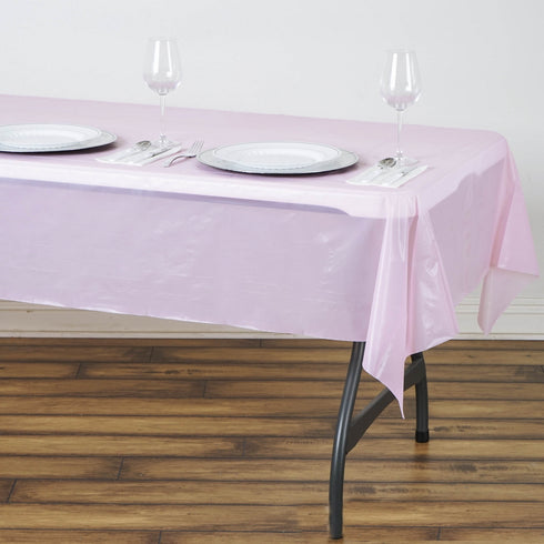 "54"" x 72"" Pink 10mil Thick Disposable Waterproof Vinyl Rectangular Tablecloth"