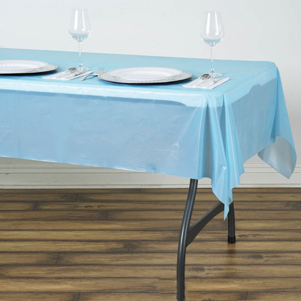 "54"" x 72"" Serenity Blue 10 Mil Thick Waterproof Tablecloth PVC Rectangle Disposable Tablecloth"