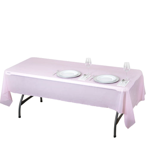 "54"" x 108"" Pink 10mil Thick Disposable Plastic Vinyl Picnic Rectangular Tablecloth"