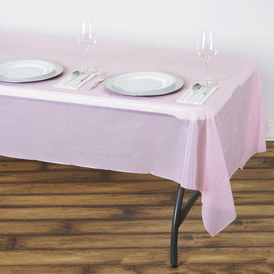 "Spotless Elegance 54x108"" Disposable Plastic Table Cover - Pink"
