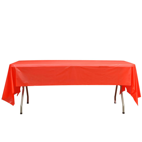 "54"" x 108"" Red 10mil Thick Disposable Plastic Vinyl Picnic Rectangular Tablecloth"