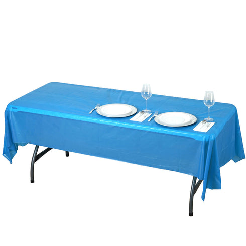 "54"" x 108"" Royal Blue 10 Mil Thick Waterproof Tablecloth PVC Rectangle Disposable Tablecloth"
