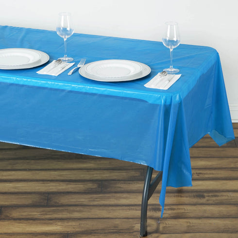 "Spotless Elegance 54x108"" Disposable Plastic Table Cover - Royal Blue"