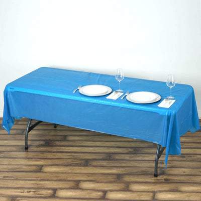 "54"" x 108"" Royal Blue 10mil Thick Disposable Plastic Vinyl Rectangular Tablecloth"