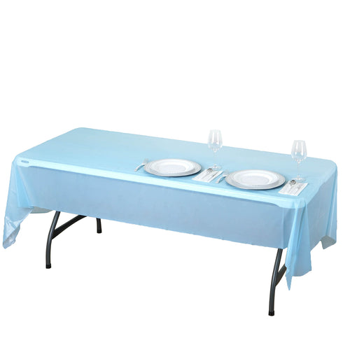 "54"" x 108"" Serenity Blue 10mil Thick Disposable Vinyl Rectangular Tablecloth"