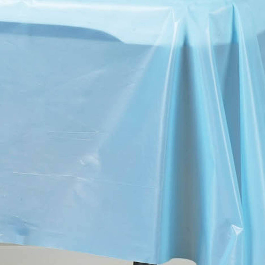 "Spotless Elegance 54x108"" Disposable Plastic Table Cover - Serenity Blue"