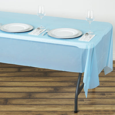 "54"" x 108"" 10mil Thick Disposable Plastic Vinyl Tablecloth - Serenity Blue"
