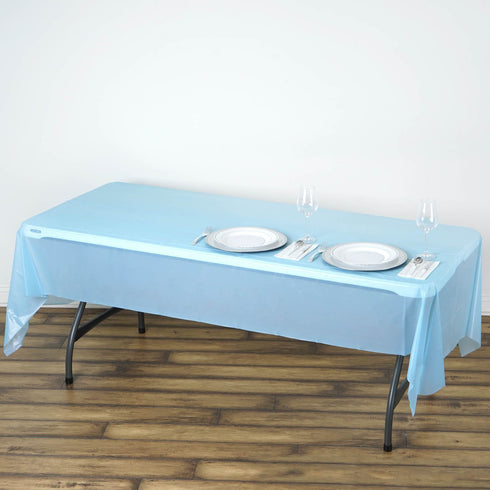 "54"" x 108"" Serenity Blue 10 Mil Thick Waterproof Tablecloth PVC Rectangle Disposable Tablecloth"