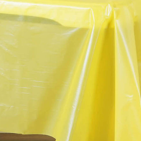 "54"" x 108"" Yellow 10 Mil Thick Waterproof Tablecloth PVC Rectangle Disposable Tablecloth"