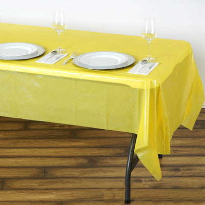 "Spotless Elegance 54x108"" Disposable Plastic Table Cover - Yellow"