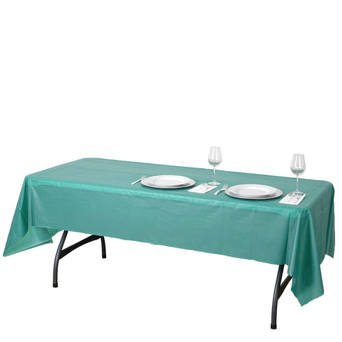 "54"" x 108"" Hunter Emerald Green 10 Mil Thick Waterproof Tablecloth PVC Rectangle Disposable Tablecloth"
