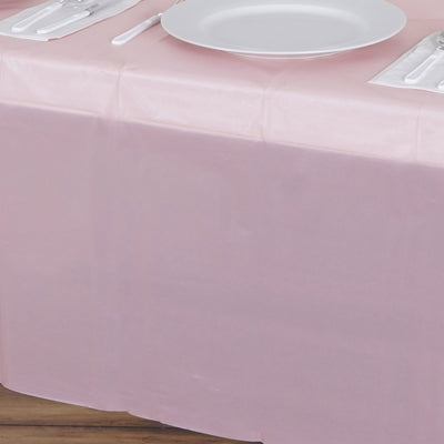 "Spotless Elegance 54x108"" Disposable Plastic Table Cover - Rose Gold 