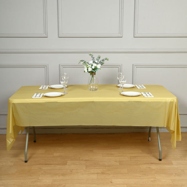"54"" x 108"" Gold 10 Mil Thick Waterproof Tablecloth PVC Rectangle Disposable Tablecloth"