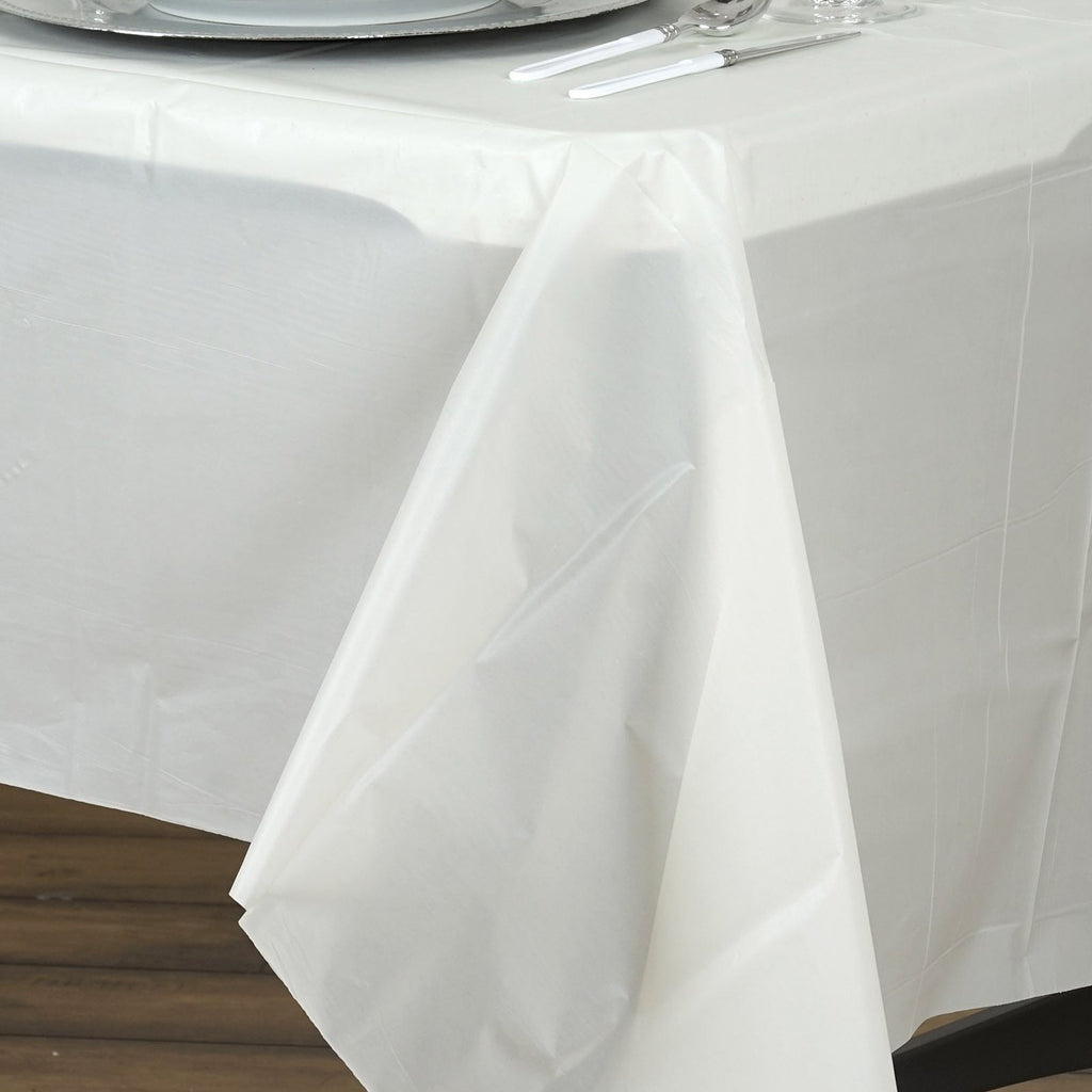 "10mil Thick Disposable Plastic Vinyl Picnic Banquet Birthday Party Home Tablecloth - Ivory - 54"" x 108"""