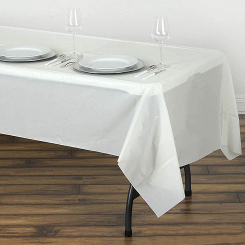 "54"" x 108"" Ivory 10 Mil Thick Waterproof Tablecloth PVC Rectangle Disposable Tablecloth"
