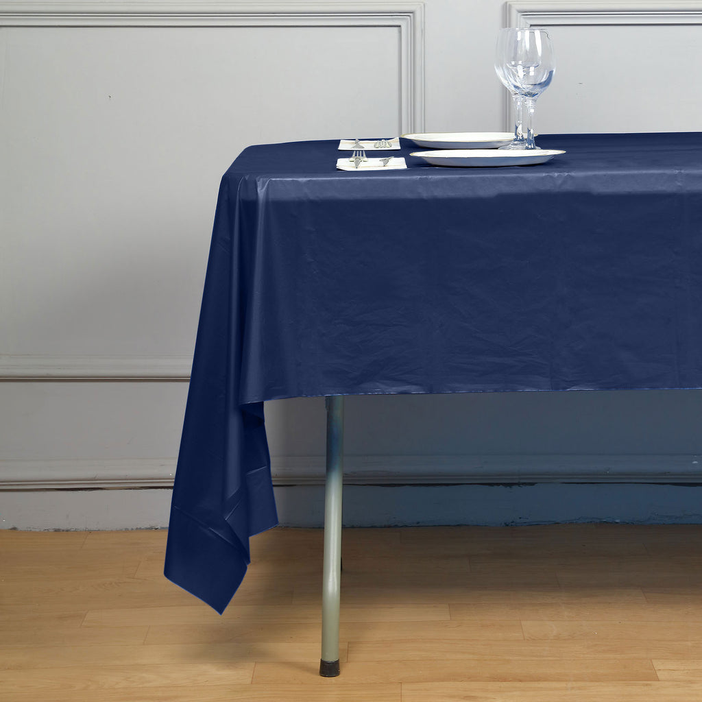 "10mil Thick Disposable Plastic Vinyl Picnic Banquet Birthday Party Home Tablecloth - Navy Blue - 54"" x 108"""