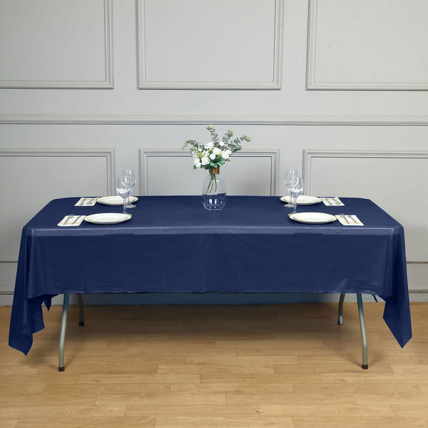 "54"" x 108"" Navy Blue 10 Mil Thick Waterproof Tablecloth PVC Rectangle Disposable Tablecloth"