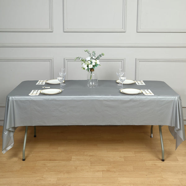 "54"" x 108"" Silver 10 Mil Thick Waterproof Tablecloth PVC Rectangle Disposable Tablecloth"